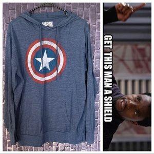 Captain America Hooded Long Sleeve Tee